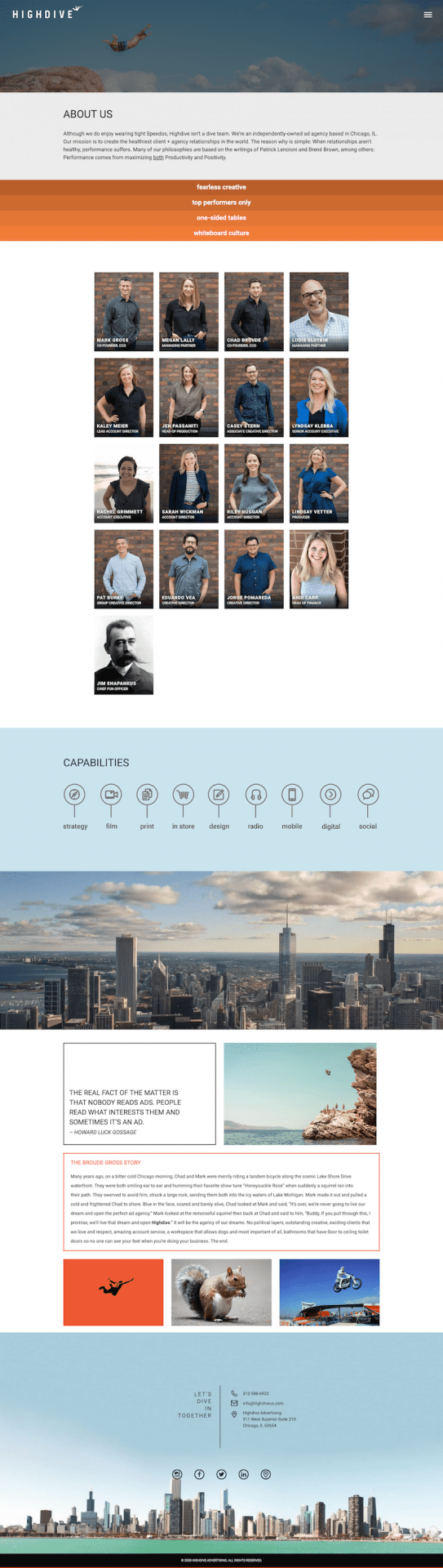 Highdive Advertising Website