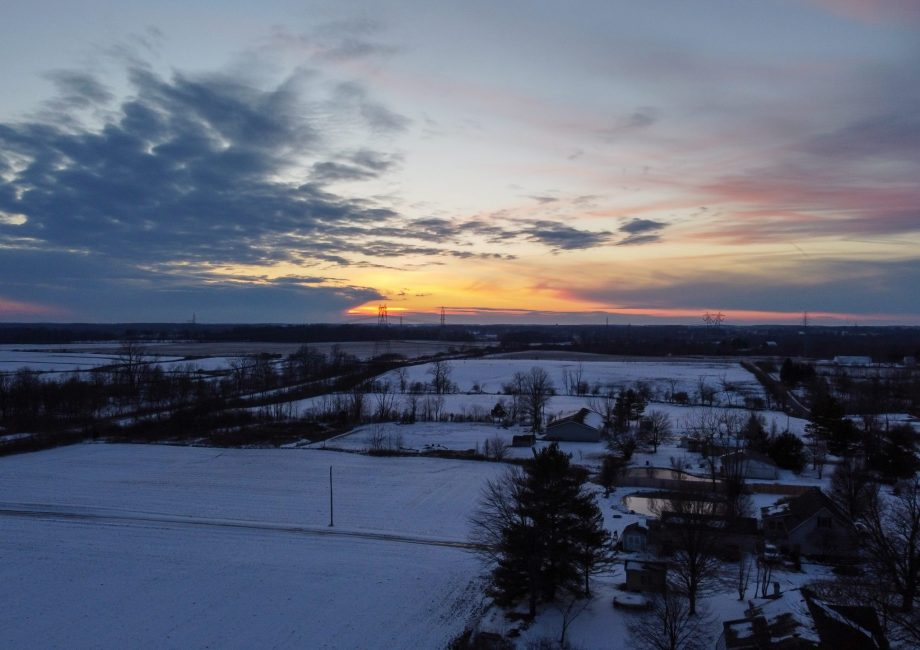 Winter Sunset Drone Panorama